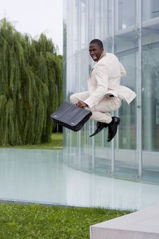 Free Businessman Jumping Of Happiness Royalty Free Stock Images - 16697729