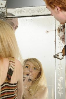 Free Young People Looking In Mirror Stock Images - 16698364