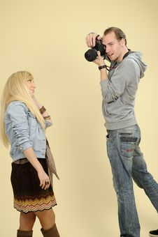 Free Photographer Working With Girl Royalty Free Stock Photography - 16698517