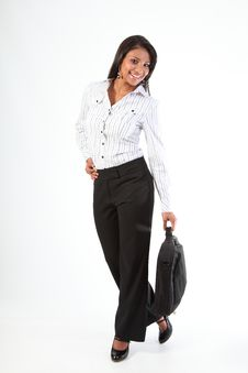 Fun Full Length Pic Business Woman With Laptop Bag Stock Photography