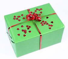 Gift With Heart Shaped Confetti Royalty Free Stock Photos
