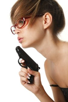 Free Young  Woman In Red Glasses With Handgun Stock Photo - 16699640