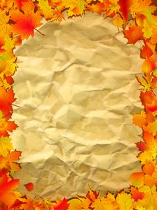 Free Autumn Background On Old Paper. Royalty Free Stock Photo - 16699795