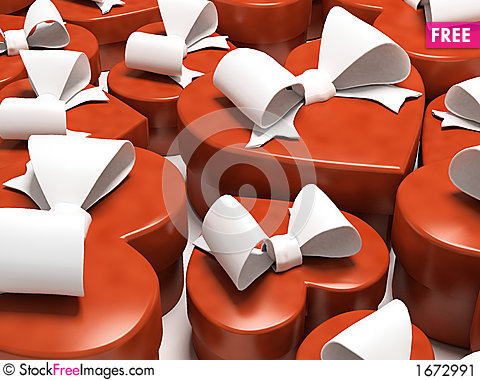 Free Many Gift Boxes-sweethearts Isolated On White Background Stock Image - 1672991