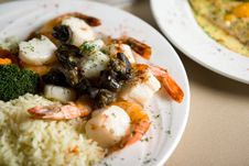 Free Steak, Shrimps And Rice Stock Image - 1674101