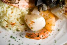 Free Steak, Shrimps And Rice Stock Photography - 1675112