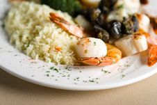 Free Steak, Shrimps And Rice Royalty Free Stock Images - 1675119