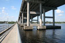 Free Tall Bridge And Long Fishing Pier Royalty Free Stock Photo - 1675415