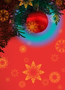 Red Christmas Postcard Royalty Free Stock Image
