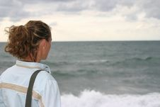 Woman Watching The Horizon Royalty Free Stock Images