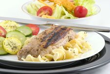 Free Pork Loin, Noodles, Veggies Royalty Free Stock Photo - 1678785