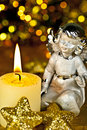 Free Christmas-angel With Candle. Royalty Free Stock Photos - 16703348