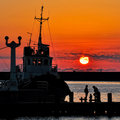 Free Sunset At The Seaport Royalty Free Stock Images - 16707589