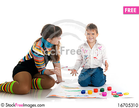 Free Boy And His Mom Covered In Bright Paint Stock Photo - 16705310