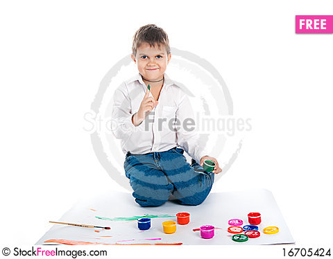 Free 4 Year Old Boy With  Paint Stock Images - 16705424