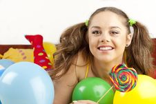 Free Young Woman Having Fun Playing Royalty Free Stock Photography - 16700447