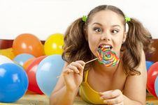 Free Young Woman Having Fun Playing Royalty Free Stock Images - 16700469