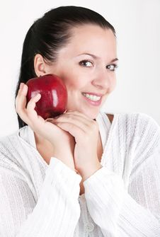 Free Woman With Red Apple Royalty Free Stock Photography - 16700957
