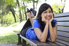Free Woman On Bench Stock Photos - 16701293