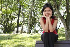 Free Woman On Bench Stock Photos - 16701343