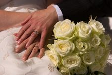 Free Just Married Couple Showing Rings Royalty Free Stock Images - 16701549