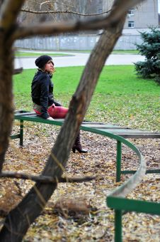 Free Girl Resting On A Bench 2 Royalty Free Stock Photos - 16702268