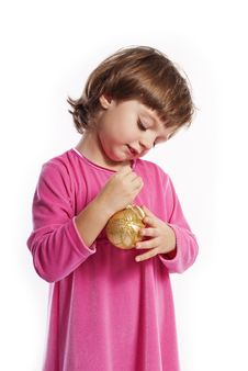 Free Little Girl  With Christmas Balls Royalty Free Stock Photo - 16702295