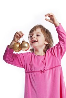 Free Little Girl With Golden Christmas Balls Royalty Free Stock Photography - 16702337