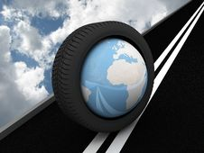 Free Protector With Planet Earth On The Asphalt. 3D Royalty Free Stock Photography - 16703387