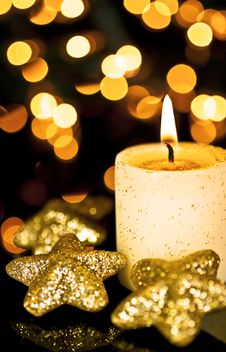 Free Candle And Stars. Royalty Free Stock Photo - 16703425