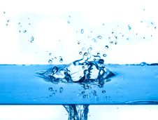 Free Blue Water Splashing  White Background Royalty Free Stock Image - 16703516