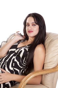 Free Chair Woman Relaxing Zebra Dress Stock Images - 16704004