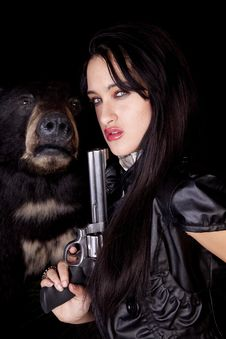 Free Woman Gun Bear Stock Photo - 16704300