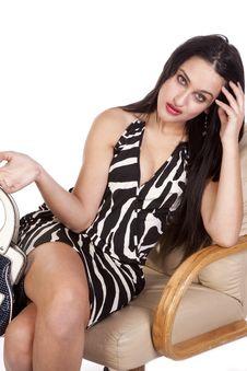 Free Woman In Chair In Zebra Dress Stock Photo - 16704360