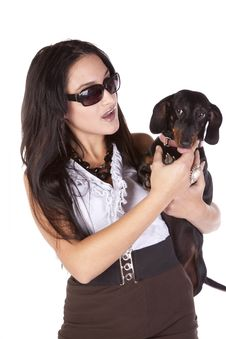 Free Woman Looking At Dog Stock Images - 16704444