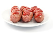 Free Sausages On A Plate Royalty Free Stock Photos - 16704648