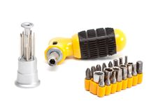 Free Screwdriver With Set Of Nozzles. Stock Photo - 16704670