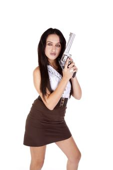 Free Woman Standing With Gun Stock Photos - 16704743