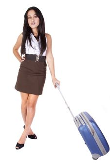 Woman Waiting With Suitcase Stock Photos
