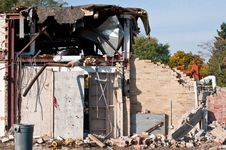 Free Demolition Of An Old HIgh School Building Royalty Free Stock Image - 16705246