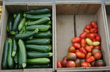 Farm Stand Zucchini And Tomatoes Royalty Free Stock Photos