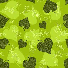 Free Seamless Green Leaves Pattern. Stock Image - 16705681