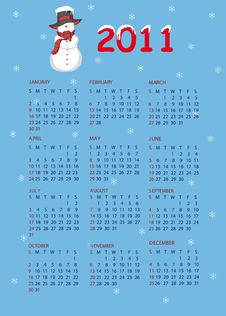 Calendar 2011. Snowman Stock Image