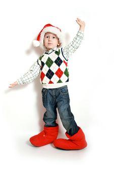 Boy With Santa-hat, Smiling Stock Image