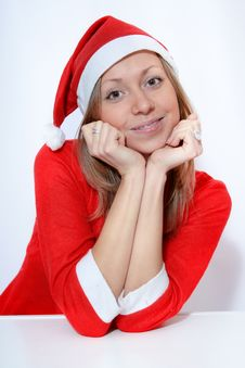 Free Girl In Santa Red Hat Royalty Free Stock Image - 16706676