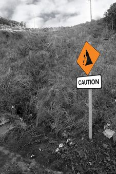 Free Landslide Caution Sign In Ireland Stock Photography - 16706752