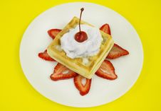 Free Waffle Cream And Cherry Stock Image - 16707101