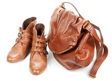 Free Brown Leather Bag And Pair Feminine Boots Stock Photos - 16707153