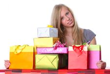 Free Happy Girl With Gifts Royalty Free Stock Image - 16707366