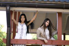 Free Two Girls On Veranda Stock Image - 16707521